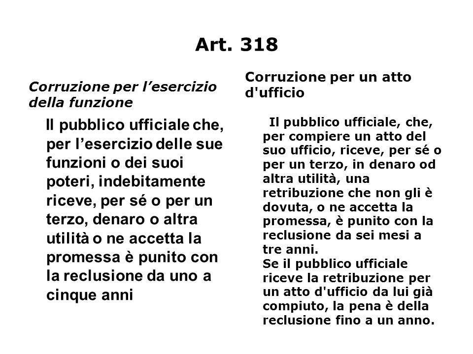 Art. 318 Corruzione per lesercizio della funzione Il pubblico ufficiale che, per lesercizio delle sue funzioni o dei suoi poteri, indebitamente riceve