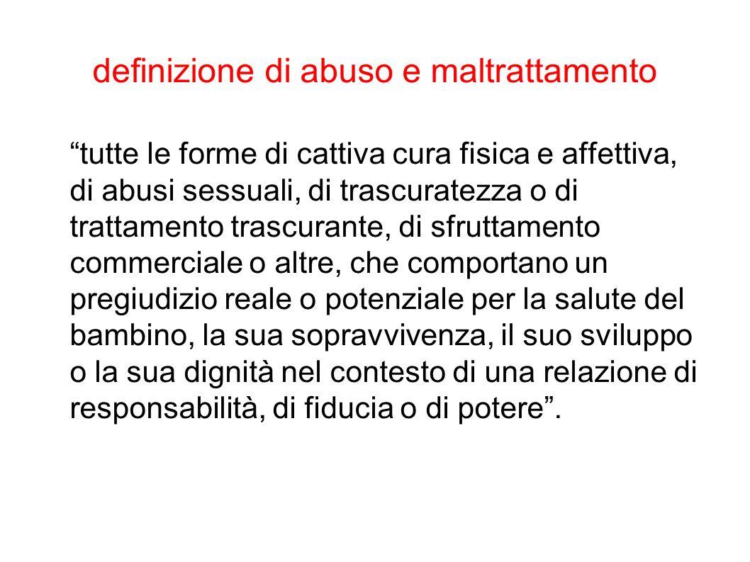 definizione di abuso e maltrattamento tutte le forme di cattiva cura fisica e affettiva, di abusi sessuali, di trascuratezza o di trattamento trascura