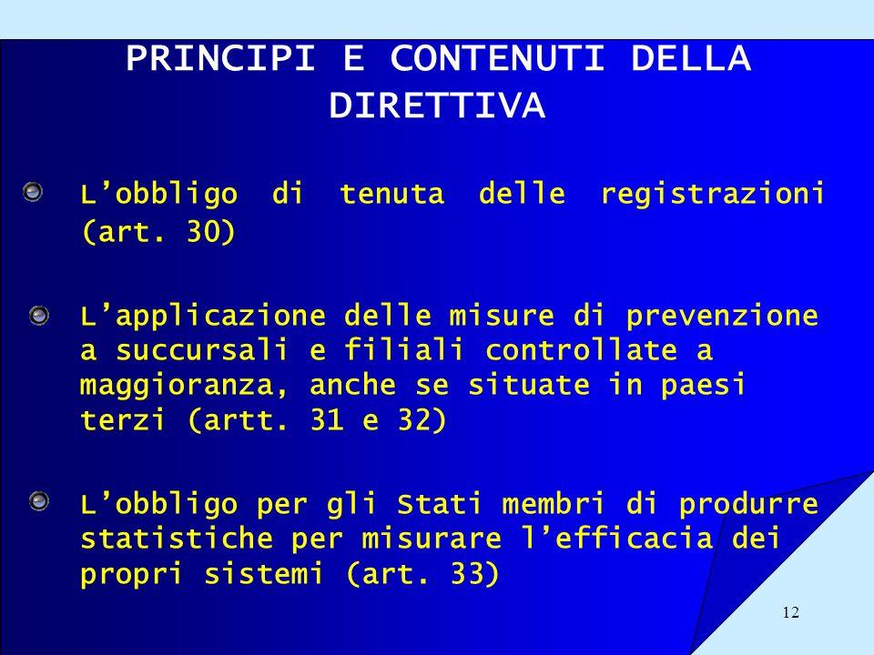 12 PRINCIPI E CONTENUTI DELLA DIRETTIVA Lobbligo di tenuta delle registrazioni (art. 30) Lapplicazione delle misure di prevenzione a succursali e fili