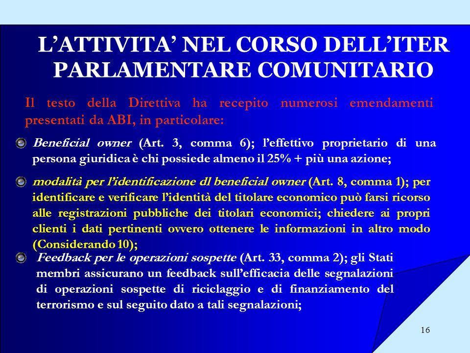 16 LATTIVITA NEL CORSO DELLITER PARLAMENTARE COMUNITARIO Il testo della Direttiva ha recepito numerosi emendamenti presentati da ABI, in particolare: