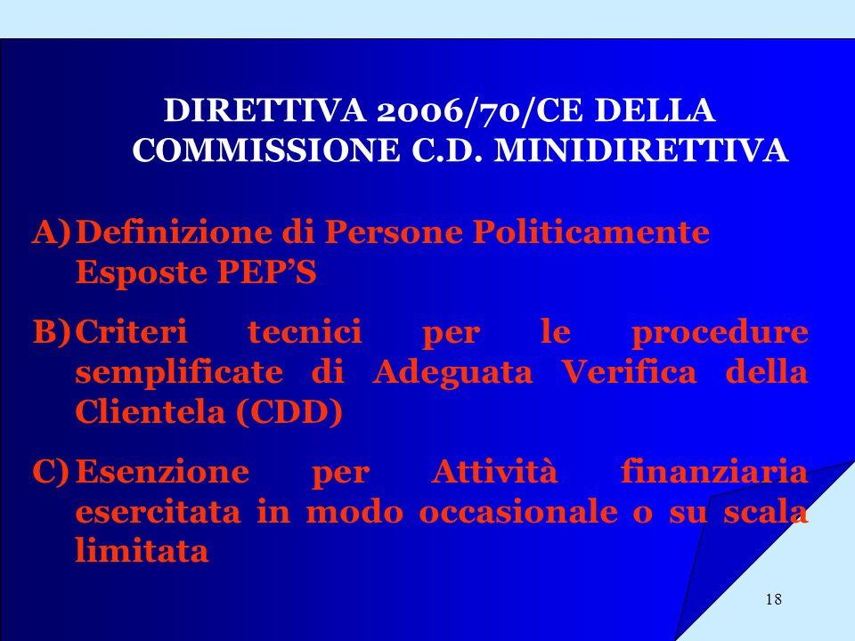 18 DIRETTIVA 2006/70/CE DELLA COMMISSIONE C.D. MINIDIRETTIVA A)Definizione di Persone Politicamente Esposte PEPS B)Criteri tecnici per le procedure se