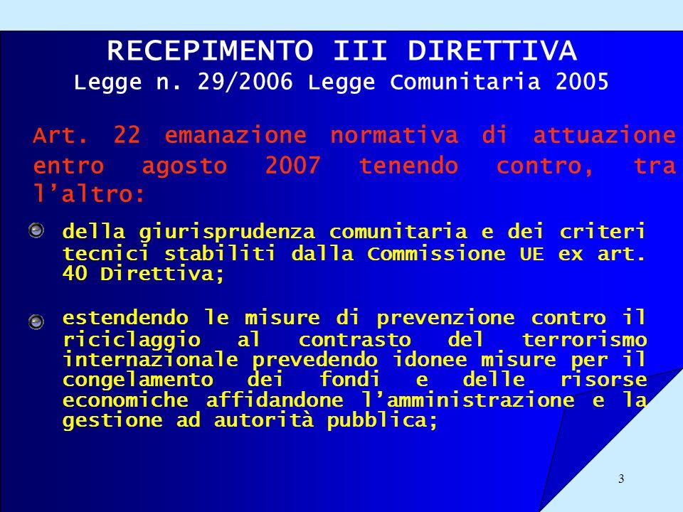 3 RECEPIMENTO III DIRETTIVA Legge n. 29/2006 Legge Comunitaria 2005 Art. 22 emanazione normativa di attuazione entro agosto 2007 tenendo contro, tra l
