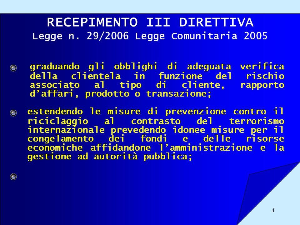 4 RECEPIMENTO III DIRETTIVA Legge n. 29/2006 Legge Comunitaria 2005 graduando gli obblighi di adeguata verifica della clientela in funzione del rischi