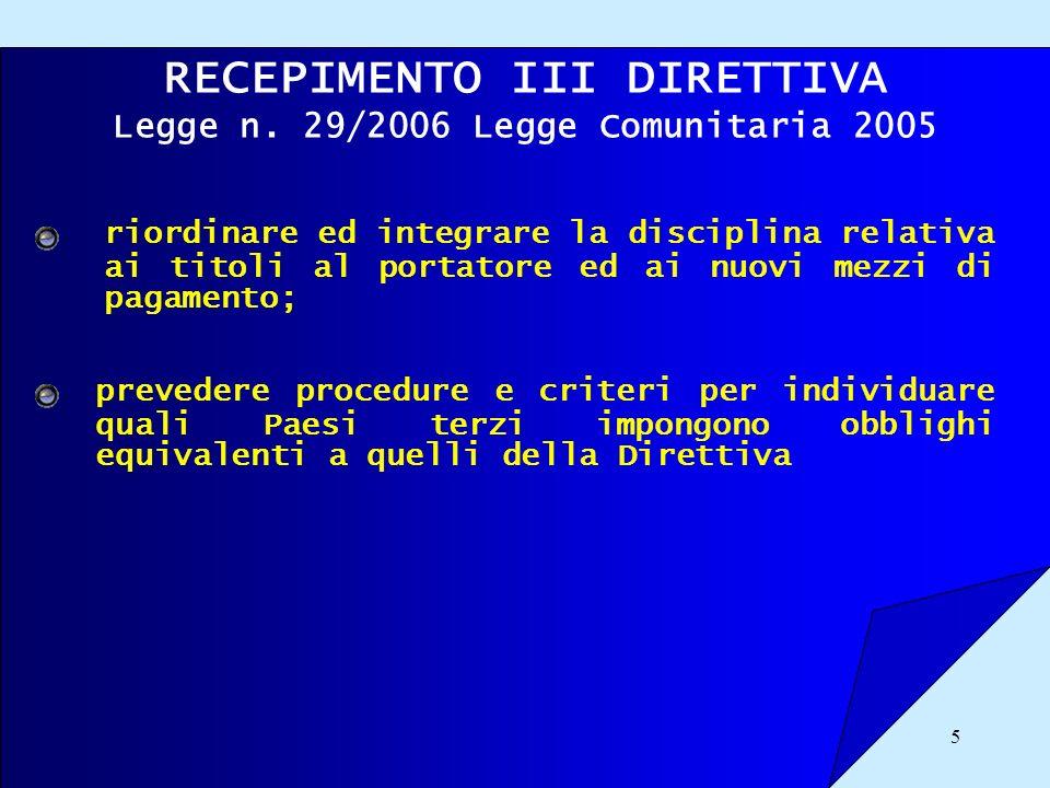 5 RECEPIMENTO III DIRETTIVA Legge n. 29/2006 Legge Comunitaria 2005 riordinare ed integrare la disciplina relativa ai titoli al portatore ed ai nuovi