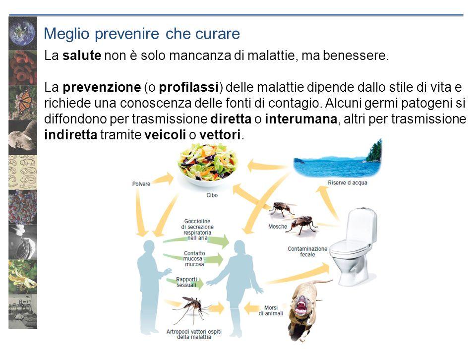 Meglio prevenire che curare La salute non è solo mancanza di malattie, ma benessere. La prevenzione (o profilassi) delle malattie dipende dallo stile