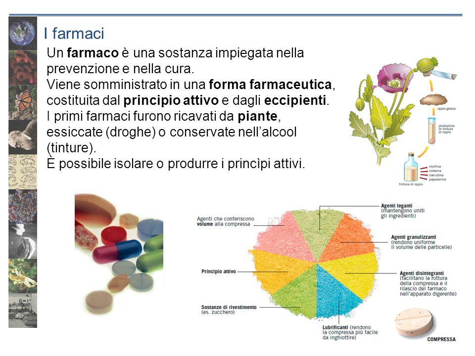 I farmaci Un farmaco è una sostanza impiegata nella prevenzione e nella cura. Viene somministrato in una forma farmaceutica, costituita dal principio
