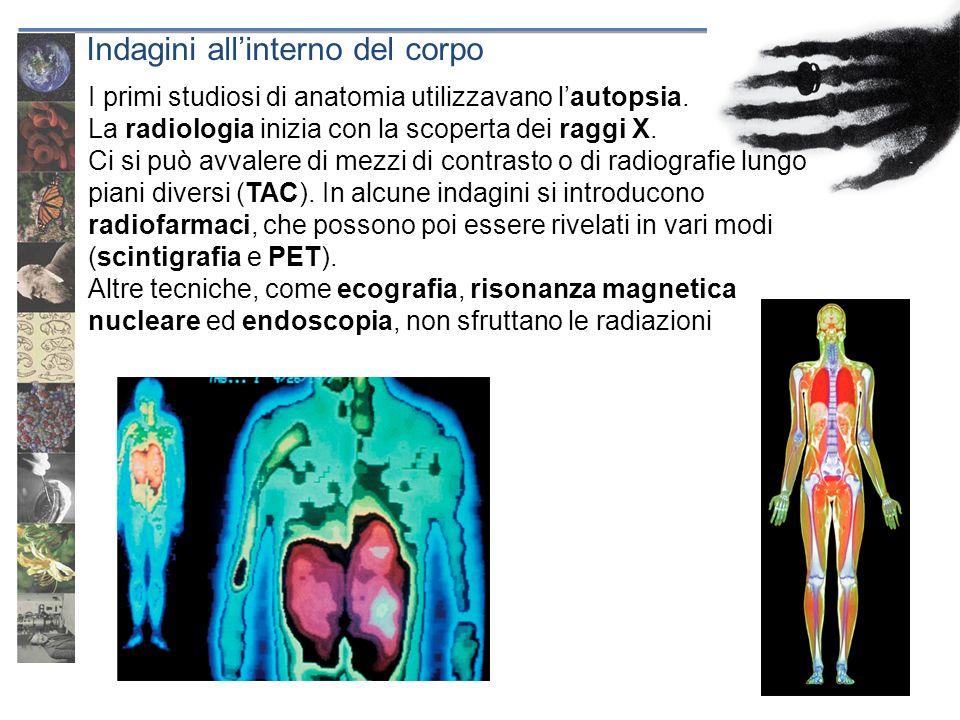 Indagini allinterno del corpo I primi studiosi di anatomia utilizzavano lautopsia. La radiologia inizia con la scoperta dei raggi X. Ci si può avvaler