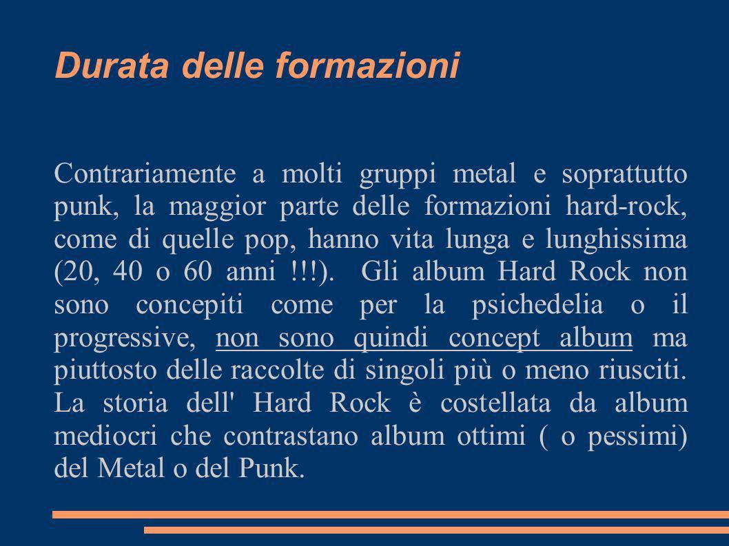Durata delle formazioni Contrariamente a molti gruppi metal e soprattutto punk, la maggior parte delle formazioni hard-rock, come di quelle pop, hanno