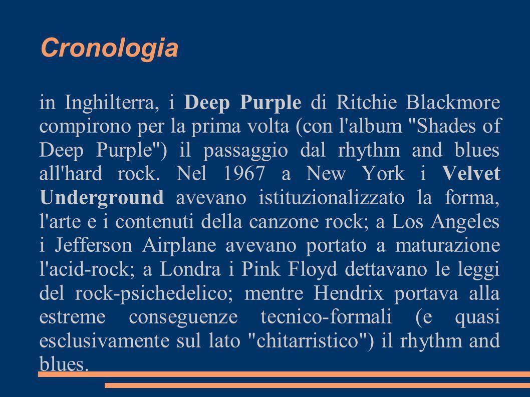 Cronologia in Inghilterra, i Deep Purple di Ritchie Blackmore compirono per la prima volta (con l'album