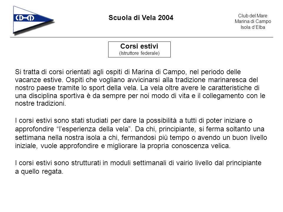 Club del Mare Marina di Campo Isola dElba Scuola di Vela 2004 Principianti (5 giorni) A1 Ammissione: maggiori di 6 anni; non è richiesta alcuna conoscenza tecnica.