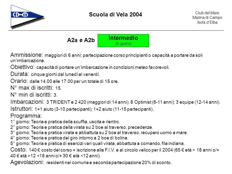Club del Mare Marina di Campo Isola dElba Scuola di Vela 2004 Intermedio (5 giorni) A2a e A2b Ammissione: maggiori di 6 anni; partecipazione corso principianti o capacità a portare da soli unimbarcazione.