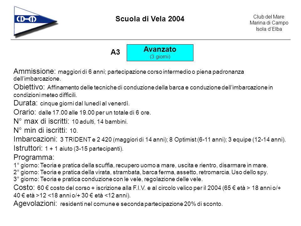 Club del Mare Marina di Campo Isola dElba Scuola di Vela 2004 Avanzato (3 giorni) A3 Ammissione: maggiori di 6 anni; partecipazione corso intermedio o piena padronanza dellimbarcazione.