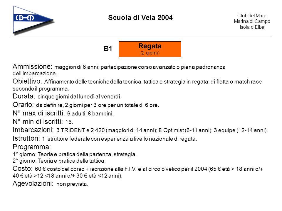 Club del Mare Marina di Campo Isola dElba Scuola di Vela 2004 Lezioni private (2 giorni) C1 Ammissione: maggiori di 6 anni.