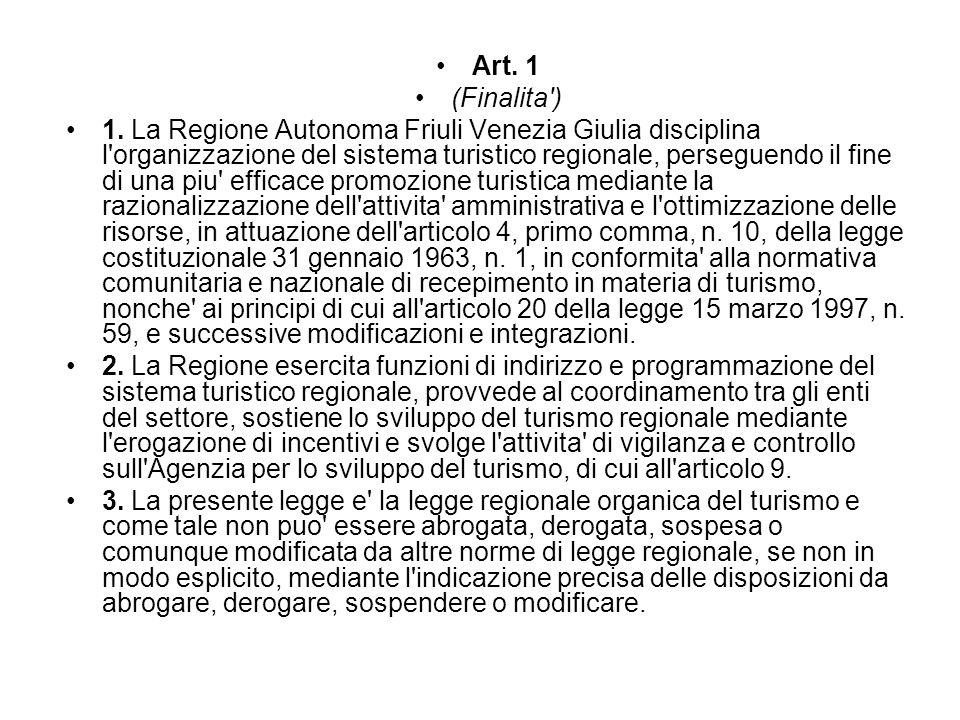 Soggetti operanti nel settore turistico Art.5 (Enti, Associazioni e Consorzi) 1.