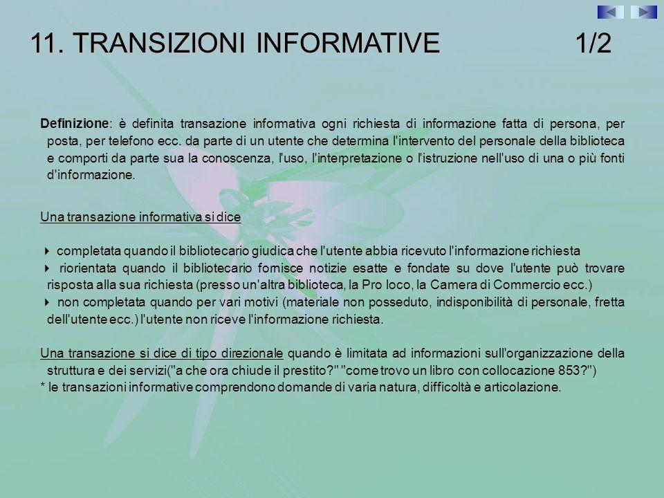 11. TRANSIZIONI INFORMATIVE 1/2 Definizione: è definita transazione informativa ogni richiesta di informazione fatta di persona, per posta, per telefo