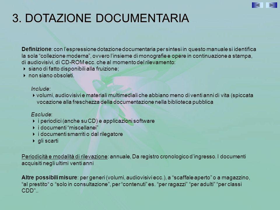 3. DOTAZIONE DOCUMENTARIA Definizione: con lespressione dotazione documentaria per sintesi in questo manuale si identifica la sola collezione moderna,