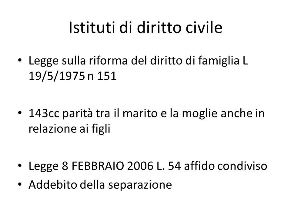 Istituti di diritto civile Legge sulla riforma del diritto di famiglia L 19/5/1975 n 151 143cc parità tra il marito e la moglie anche in relazione ai