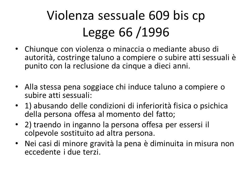 Violenza sessuale 609 bis cp Legge 66 /1996 Chiunque con violenza o minaccia o mediante abuso di autorità, costringe taluno a compiere o subire atti s