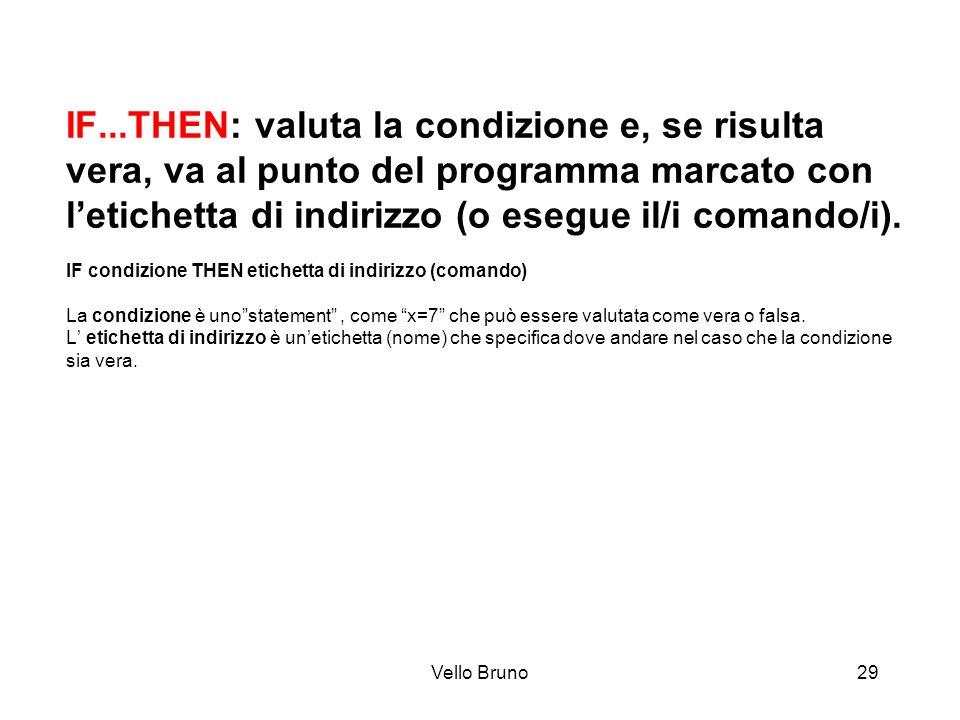 Vello Bruno29 IF...THEN: valuta la condizione e, se risulta vera, va al punto del programma marcato con letichetta di indirizzo (o esegue il/i comando
