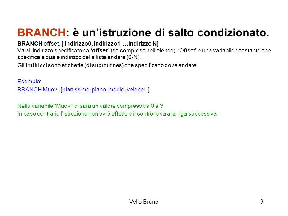 Vello Bruno3 BRANCH: è unistruzione di salto condizionato. BRANCH offset, [ indirizzo0, indirizzo1, …indirizzo N] Va allindirizzo specificato da offse