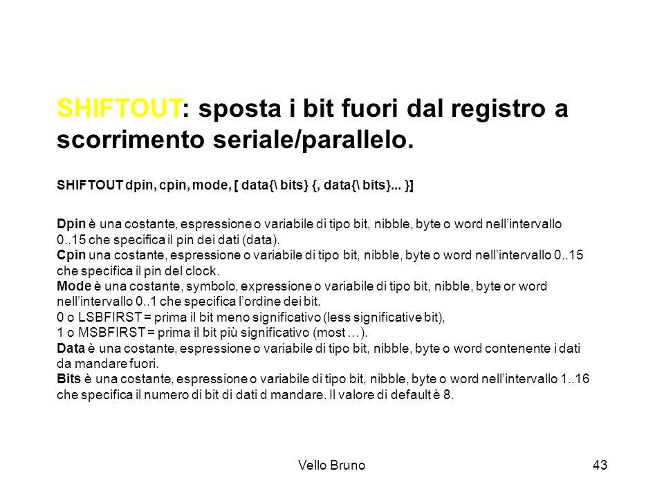 Vello Bruno43 SHIFTOUT: sposta i bit fuori dal registro a scorrimento seriale/parallelo. SHIFTOUT dpin, cpin, mode, [ data{\ bits} {, data{\ bits}...