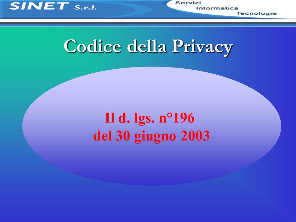 Il d. lgs. n°196 del 30 giugno 2003 Codice della Privacy