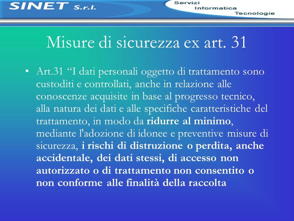 Misure di sicurezza ex art. 31 Art.31 I dati personali oggetto di trattamento sono custoditi e controllati, anche in relazione alle conoscenze acquisi