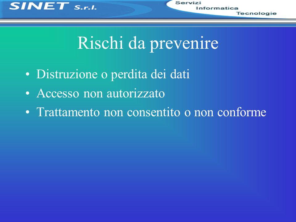 Rischi da prevenire Distruzione o perdita dei dati Accesso non autorizzato Trattamento non consentito o non conforme