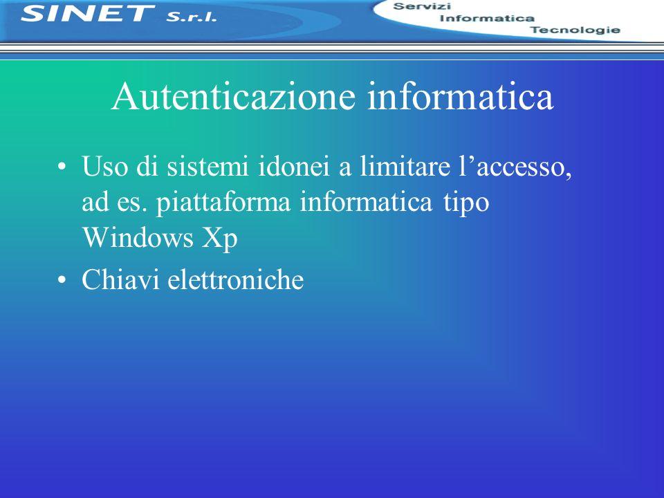 Autenticazione informatica Uso di sistemi idonei a limitare laccesso, ad es. piattaforma informatica tipo Windows Xp Chiavi elettroniche