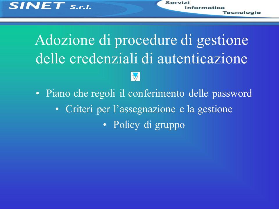 Adozione di procedure di gestione delle credenziali di autenticazione Piano che regoli il conferimento delle password Criteri per lassegnazione e la g