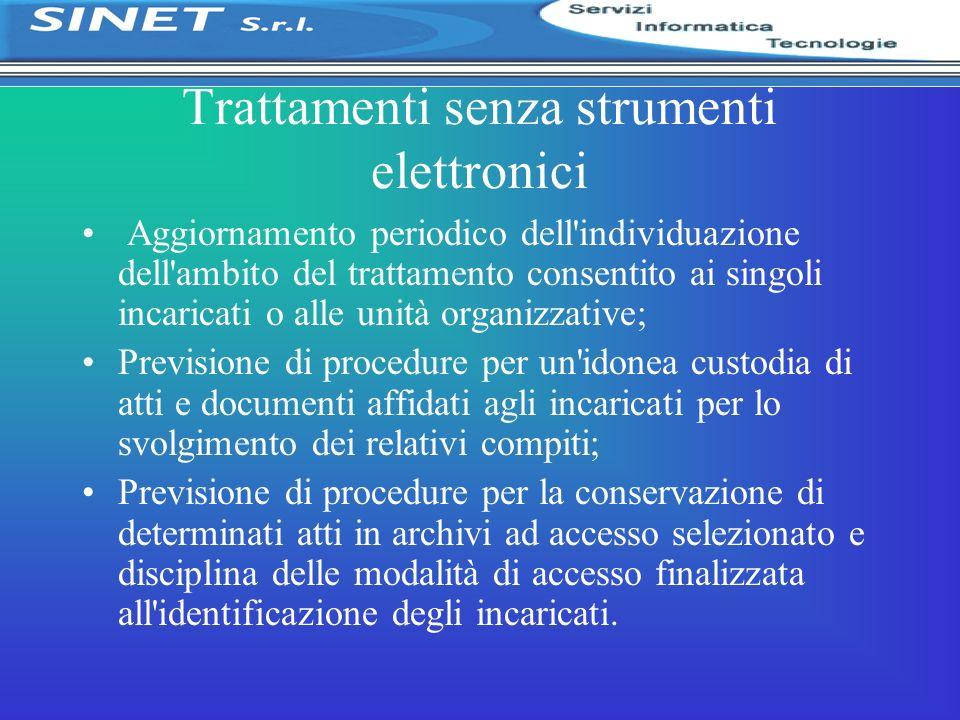 Trattamenti senza strumenti elettronici Aggiornamento periodico dell'individuazione dell'ambito del trattamento consentito ai singoli incaricati o all