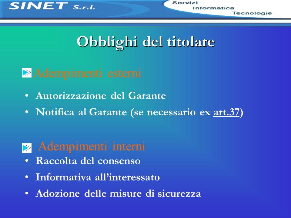 Adempimenti esterni Obblighi del titolare Autorizzazione del Garante Notifica al Garante (se necessario ex art.37) Raccolta del consenso Informativa a