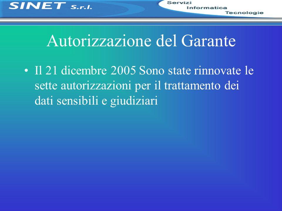 Autorizzazione del Garante Il 21 dicembre 2005 Sono state rinnovate le sette autorizzazioni per il trattamento dei dati sensibili e giudiziari