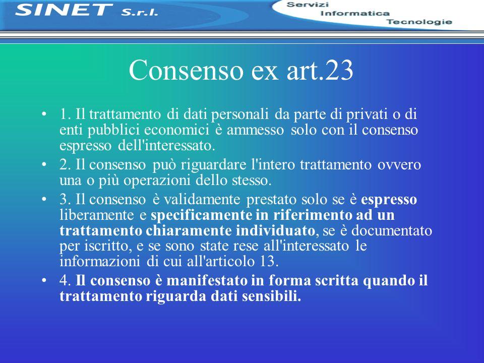 Consenso ex art.23 1. Il trattamento di dati personali da parte di privati o di enti pubblici economici è ammesso solo con il consenso espresso dell'i