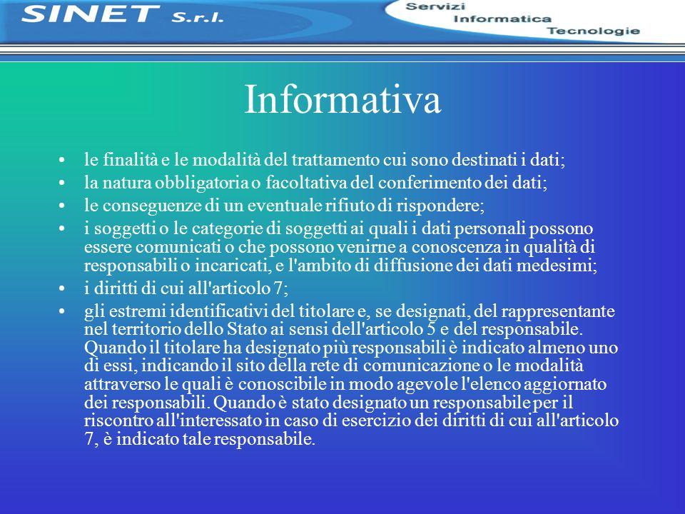 Informativa le finalità e le modalità del trattamento cui sono destinati i dati; la natura obbligatoria o facoltativa del conferimento dei dati; le co