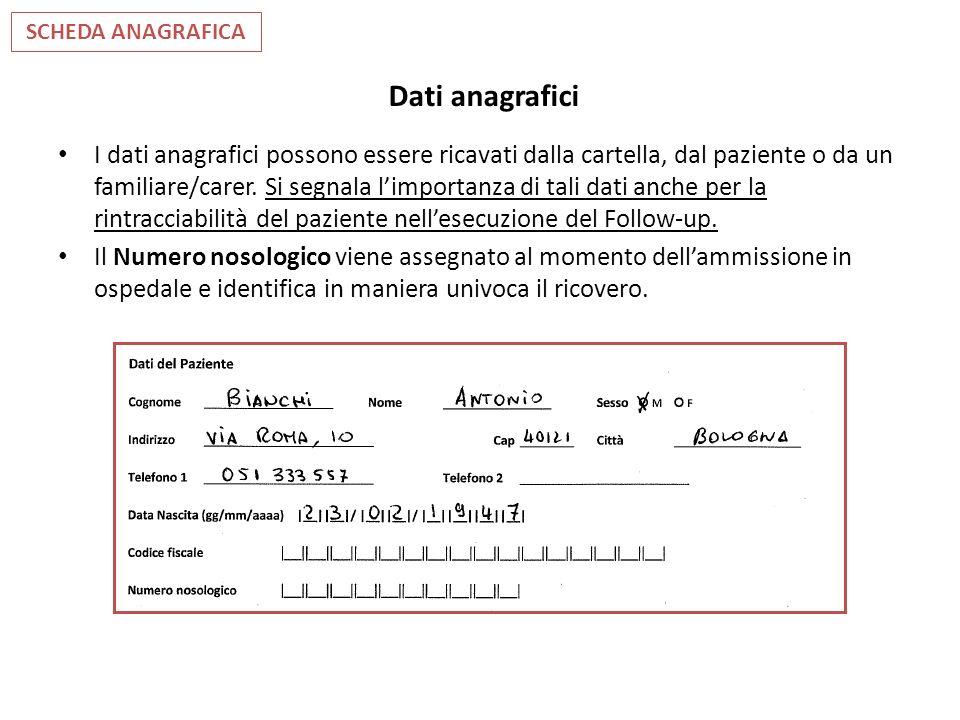 Dati anagrafici I dati anagrafici possono essere ricavati dalla cartella, dal paziente o da un familiare/carer. Si segnala limportanza di tali dati an