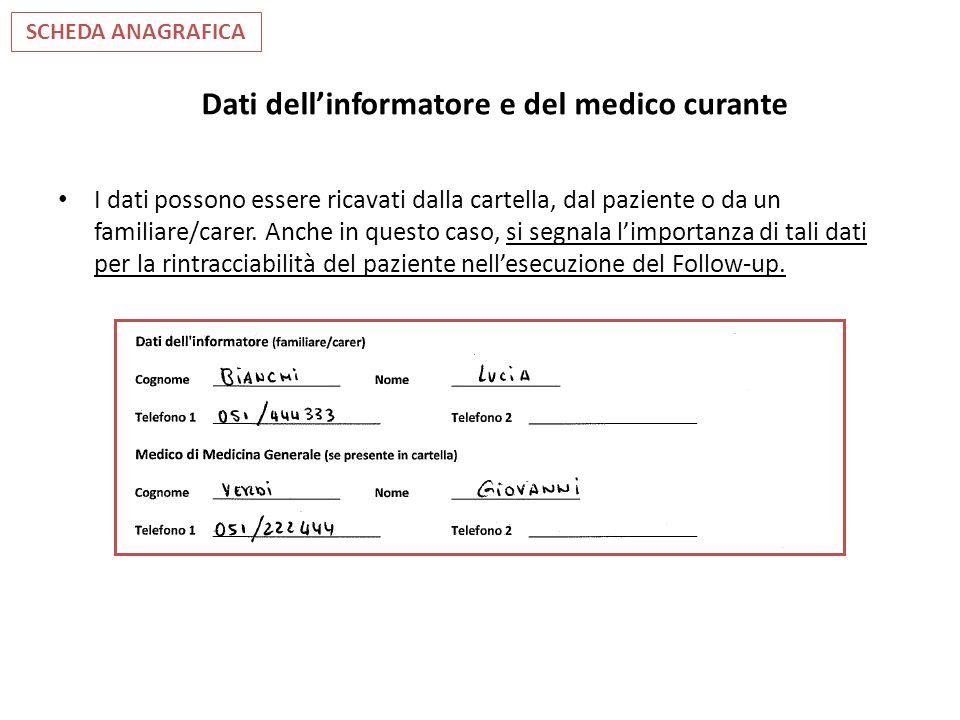 Dati dellinformatore e del medico curante I dati possono essere ricavati dalla cartella, dal paziente o da un familiare/carer. Anche in questo caso, s