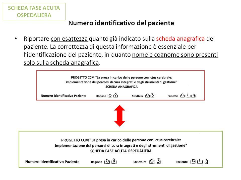 Numero identificativo del paziente Riportare con esattezza quanto già indicato sulla scheda anagrafica del paziente. La correttezza di questa informaz