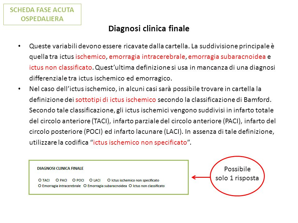 Diagnosi clinica finale Queste variabili devono essere ricavate dalla cartella. La suddivisione principale è quella tra ictus ischemico, emorragia int