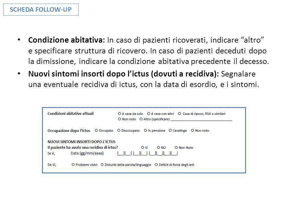 Condizione abitativa: In caso di pazienti ricoverati, indicare altro e specificare struttura di ricovero. In caso di pazienti deceduti dopo la dimissi