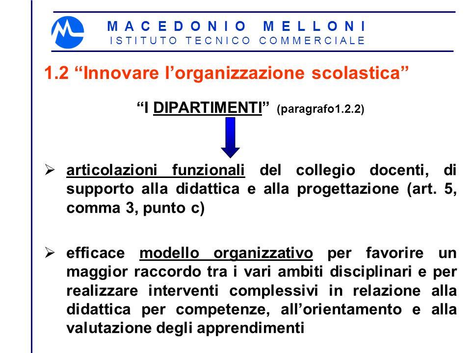 M A C E D O N I O M E L L O N I I S T I T U T O T E C N I C O C O M M E R C I A L E 1.2 Innovare lorganizzazione scolastica I DIPARTIMENTI (paragrafo1