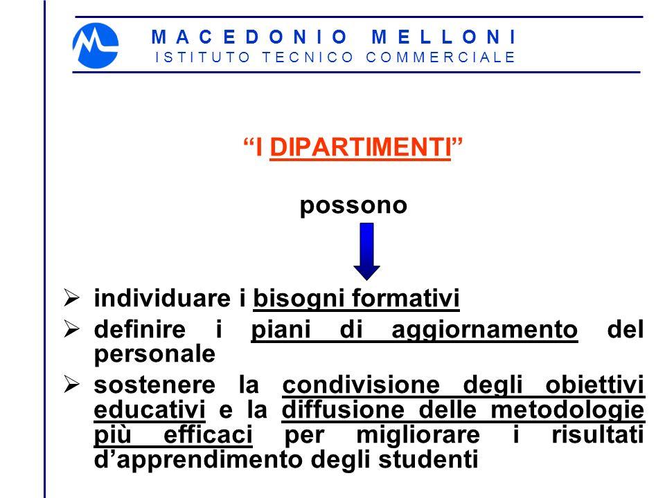 M A C E D O N I O M E L L O N I I S T I T U T O T E C N I C O C O M M E R C I A L E I DIPARTIMENTI possono individuare i bisogni formativi definire i