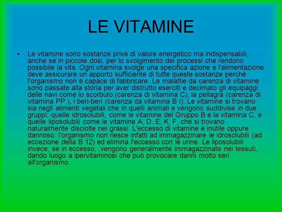 LE VITAMINE Le vitamine sono sostanze prive di valore energetico ma indispensabili, anche se in piccole dosi, per lo svolgimento dei processi che rend