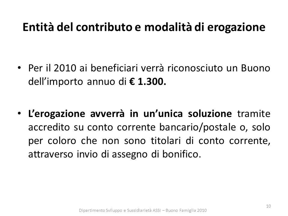 10 Entità del contributo e modalità di erogazione Per il 2010 ai beneficiari verrà riconosciuto un Buono dellimporto annuo di 1.300.