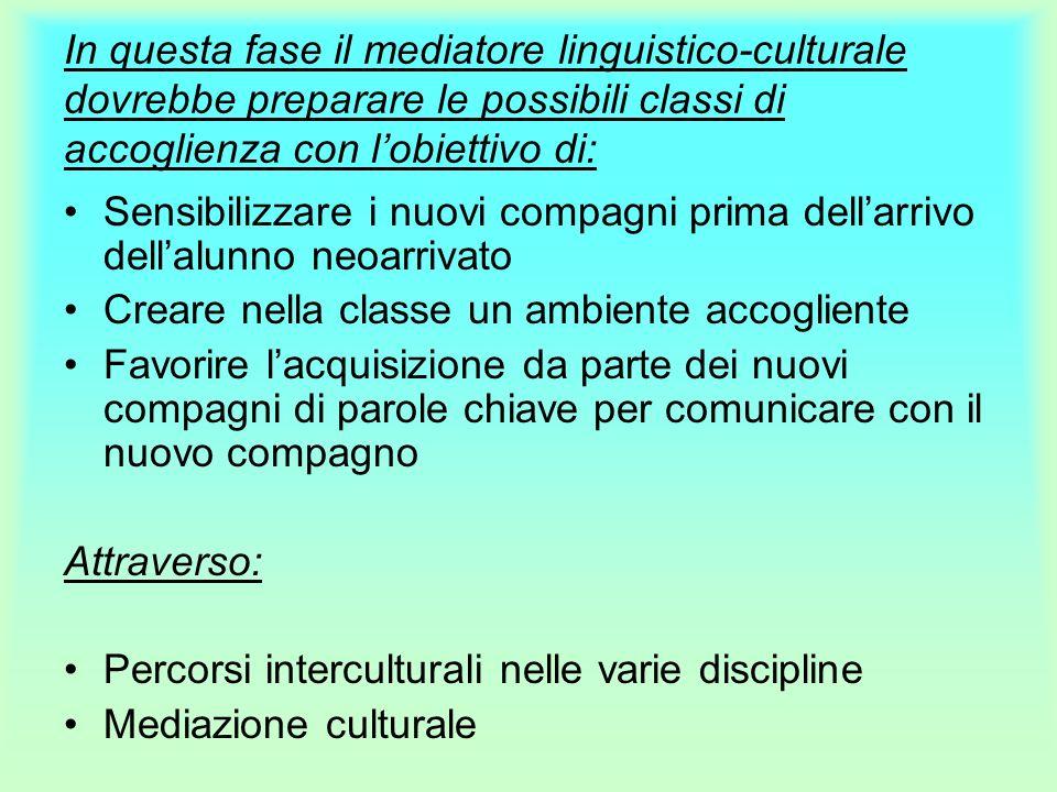 In questa fase il mediatore linguistico-culturale dovrebbe preparare le possibili classi di accoglienza con lobiettivo di: Sensibilizzare i nuovi comp