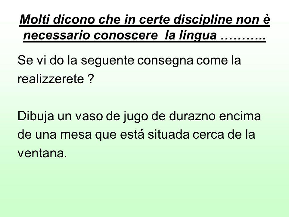 Molti dicono che in certe discipline non è necessario conoscere la lingua ……….. Se vi do la seguente consegna come la realizzerete ? Dibuja un vaso de