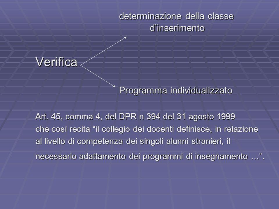 determinazione della classe dinserimento Verifica Programma individualizzato Art. 45, comma 4, del DPR n 394 del 31 agosto 1999 che così recita il col