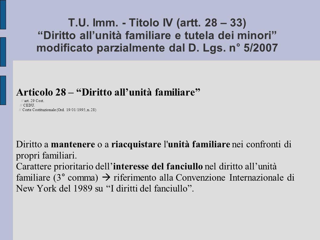 T.U.Imm. - Titolo IV (artt.