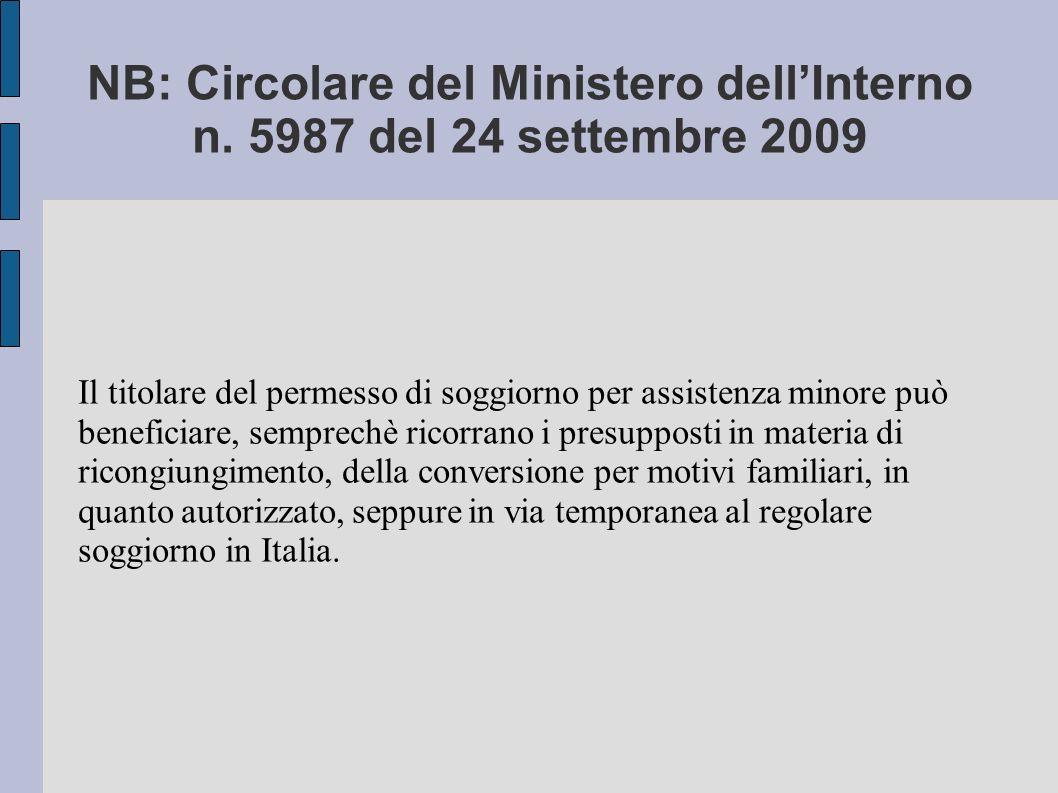 NB: Circolare del Ministero dellInterno n.