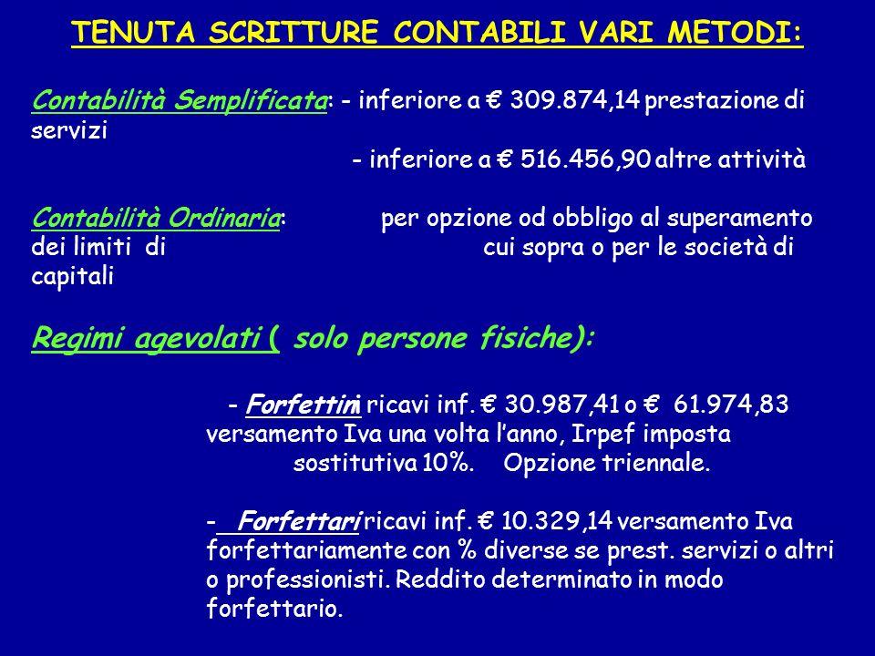 TENUTA SCRITTURE CONTABILI VARI METODI: Contabilità Semplificata : - inferiore a 309.874,14 prestazione di servizi - inferiore a 516.456,90 altre atti